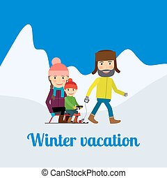 Winter Vacation Man With Children Vector Illustration