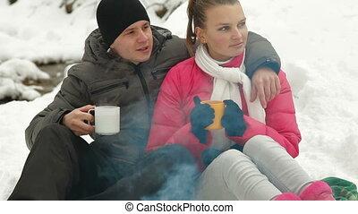Winter Vacation Near Campfire