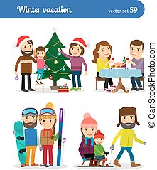 I Love Winter Vacation Inscription On The Blackboard Clip Art
