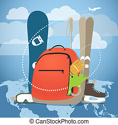 Winter vacation sports equipment