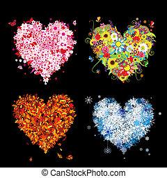 winter., vacker, konst, fjäder, höst, -, fyra, design, kryddar, hjärtan, din, sommar