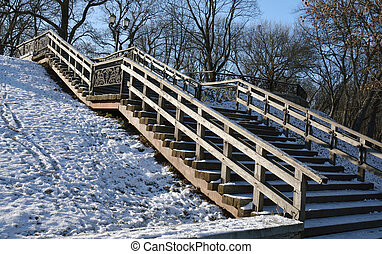winter Val park in Chernihiv with wooden stairs