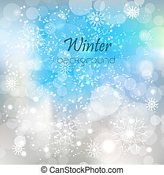Winter vector background with shiny effect, snowflakes, snow...