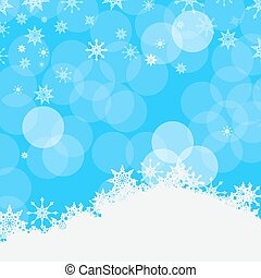 Winter Vector Blue Background with Snowflakes, Snow and Bokeh on Sky