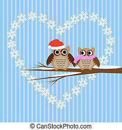 Owls couple in love