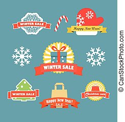 Winter vector discount labels set