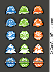 Winter vector discount labels set,