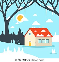 Winter Vector Flat Design Landscape with House on Field Covered with Snow