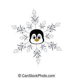 Winter vector illustration with a penguin in a snowflake.