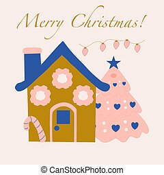 Winter vector illustration with ginger house and christmas tree