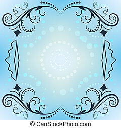 Winter vector ornate frame with blue copy space.