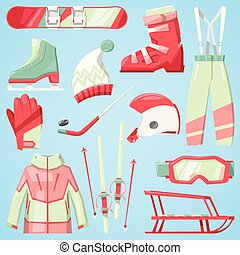 Winter vector sport and clothes icons snow ski, snowboard helmet and board, sledge mountain cold extreme sportsmen clothing fun active wintertime sporting goods season illustration isolated on white