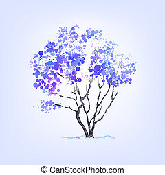 Winter vector tree of blots background