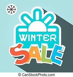 winter, verkoop, retro, vector, illustratie, met, papier, knippen, kleurrijke, titel, en blauw, zon