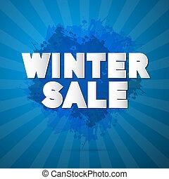 winter, verkoop, titel, op, abstract, blauwe achtergrond