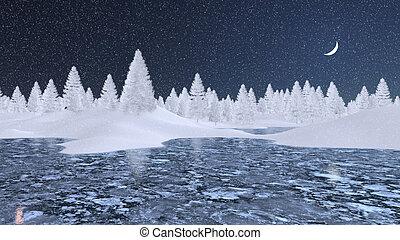 winter, verschneiter , frozen lake, nacht, tannen