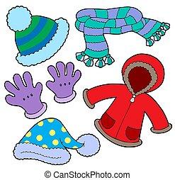 winter, verzameling, kleren