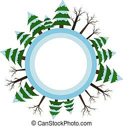 winter., vettore, inverno, stagione, abete-albero, albero, stampa, icon., bandiere, illustrations.