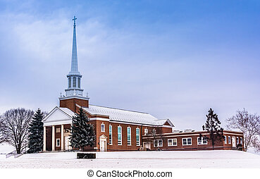 Winter view of a church in rural York County, Pennsylvania.