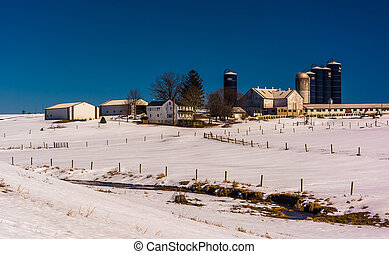 Winter view of a farm in rural Lancaster County, Pennsylvania.