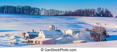 Winter view of a farm in rural York County, Pennsylvania.