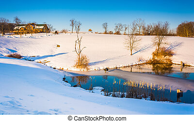 Winter view of a pond in rural York County, Pennsylvania.