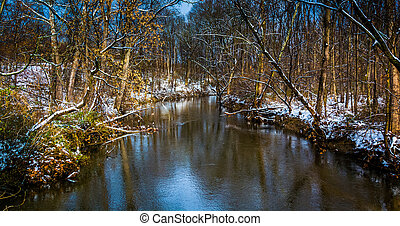 Winter view of a stream in rural York County, Pennsylvania.