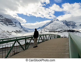 Winter view of Athabasca Glacier in Jasper National Park, Alberta, Canada