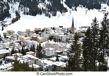 Winter view of Davos, famous Swiss skiing resort