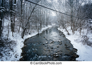 Winter view of Gunpowder Falls in rural Baltimore County, Maryland.