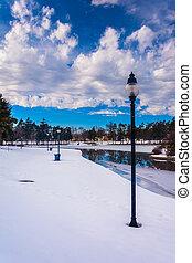 Winter view of Kiwanis Lake, in York, Pennsylvania.
