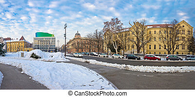 Winter view of Marshal Tito square in Zagreb
