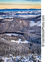Winter view of mountain valley
