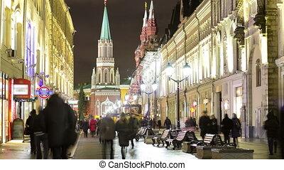 Winter view of Nikolskaya street timelapse in Moscow,Russia.