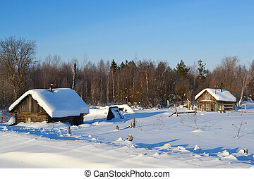 Winter view of small russian village