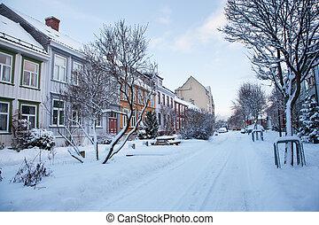 Winter view of street in Trondheim city Norway