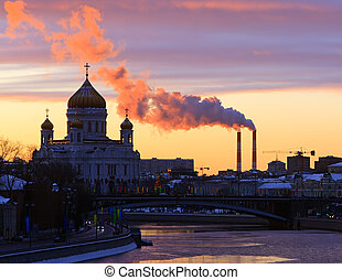 Winter view on Christ the Savior Cathedral, Moscow Russia