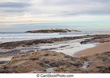 winter view on ocean and island Baleal, Portugal
