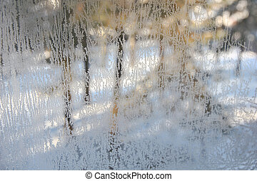 Winter view through frosted window glass.