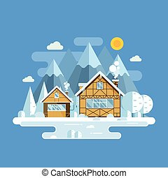 Winter Village Landscape - Winter village landscape with...