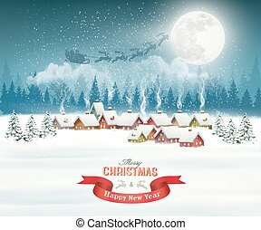 Winter village night Christmas background. Vector.