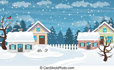 Winter village scene - Houses covered with snow. Winter ...