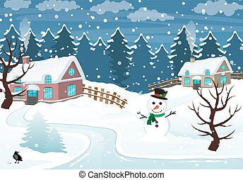 Winter village - Snow-covered cottages and snowman in the...
