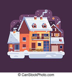 Winter Village Snowy Scene in Flat Design