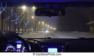 winter., ville, conduite, voiture, nuit, taxi, vue