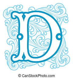 winter vintage letter D - vector image of letter D in the ...