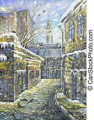 Winter Vitebsk - Old street in Vitebsk in the winter