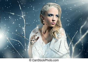winter, vrouw, met, mooi, make-up