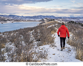 winter walk at Colorado foothills of Rocky Mountains