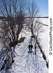 Winter walk - The silhouette of a couple on a nature walk on...